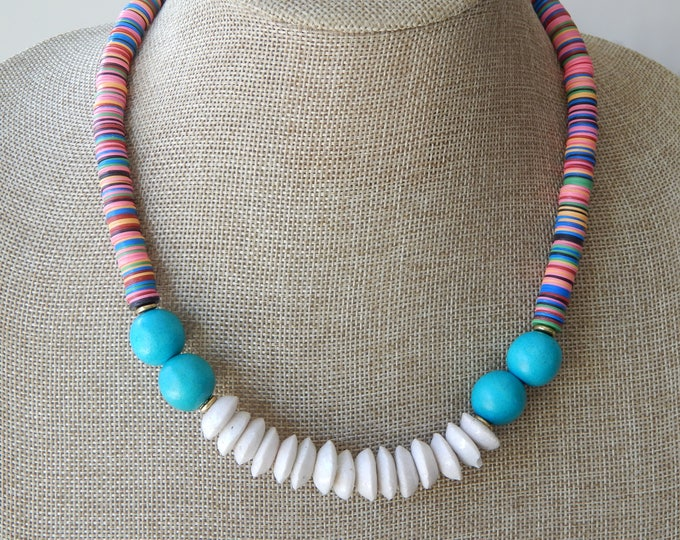 Featured listing image: Colorful african vinyl beads with white glass beads and turquoise wood, statement necklace, glass and wood, festival chic, boho necklace