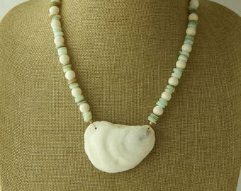 Seafoam green shell with white coral necklace and clam shell pendant, beach chic, layering necklace, summer fashion, shell necklace