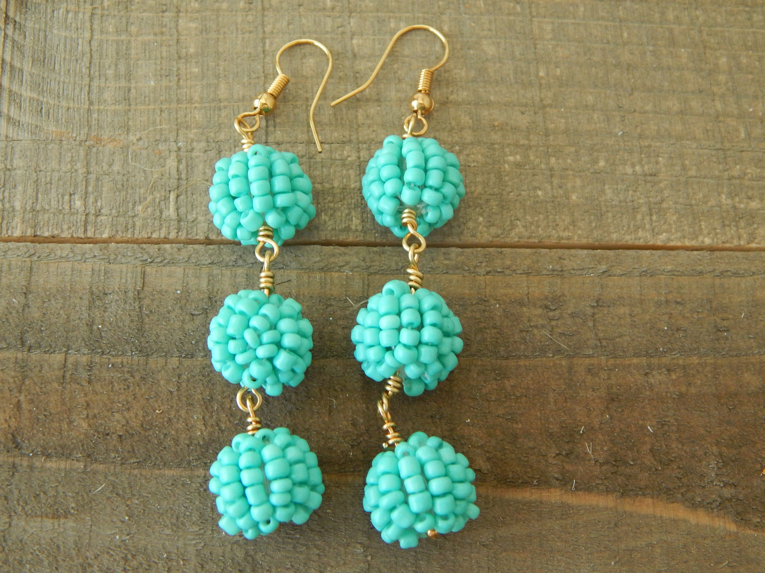 317c95c5a00aff Turquoise beaded drop earrings, seed bead earrings, long dangle earrings,  turquoise and gold, summer jewelry, festival chic style
