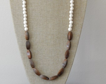 Natural wood and brown bead necklace, beach boho necklace, long layering necklace, boho style, wood bead necklace, neutral jewelry, earthy