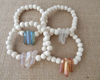 White wood bead stretch bracelet with crystal spikes, beach chic, boho fashion, stacking bracelet, beach fashion, boho jewelry, rustic