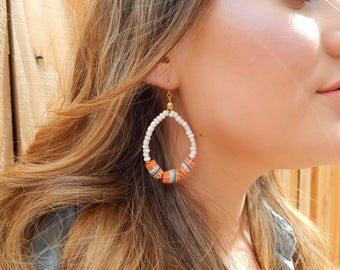 Teardrop shape earrings with white seed beads, african trade beads, and brass findings, beach boho jewelry, festival chic jewelry