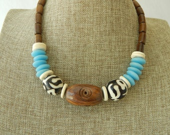 African bone bead necklace with brown wood, recycled blue glass, black and white bone beads, summer necklace, summer resort jewelry