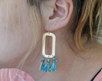 Gold plated rectangles with tiny silky tassels, multicolored tassels, summer jewelry, trendy jewelry, dangle earrings, handmade jewelry