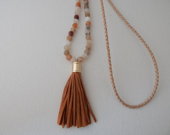 Leather tassel necklace with rainbow agate and natural braided leather, neutral, brown leather tassel with gold cap, long layering necklace