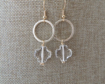 Crystal quartz quatrefoil earrings with gold hoops, gold plate, beach chic, boho style, summer jewelry, festival fashion, brushed gold