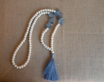 Long wood bead necklace with blue grey silky tassel and quartz beads, neutral, beach chic, organic jewelry, boho style, layering necklace