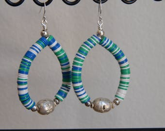 Teardrop shape earrings with colorful vinyl beads with vintage african silver bead, beach boho jewelry, festival jewelry, african vulcanite