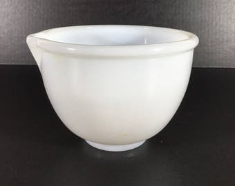 GLASBAKE Milk Glass Small Mixing Bowl for Sunbeam w/Spout Excellent (Ref #96)