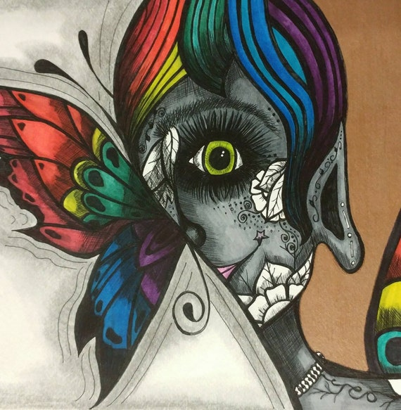 Rainbow Fairy Wings Drawing In Frame Etsy