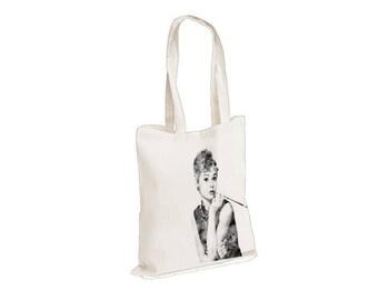 4ef9b40902 Audrey Hepburn Breakfast at Tiffanys - Watercolour watercolor Tote Canvas  bag, White, Reusable Shopping Bag