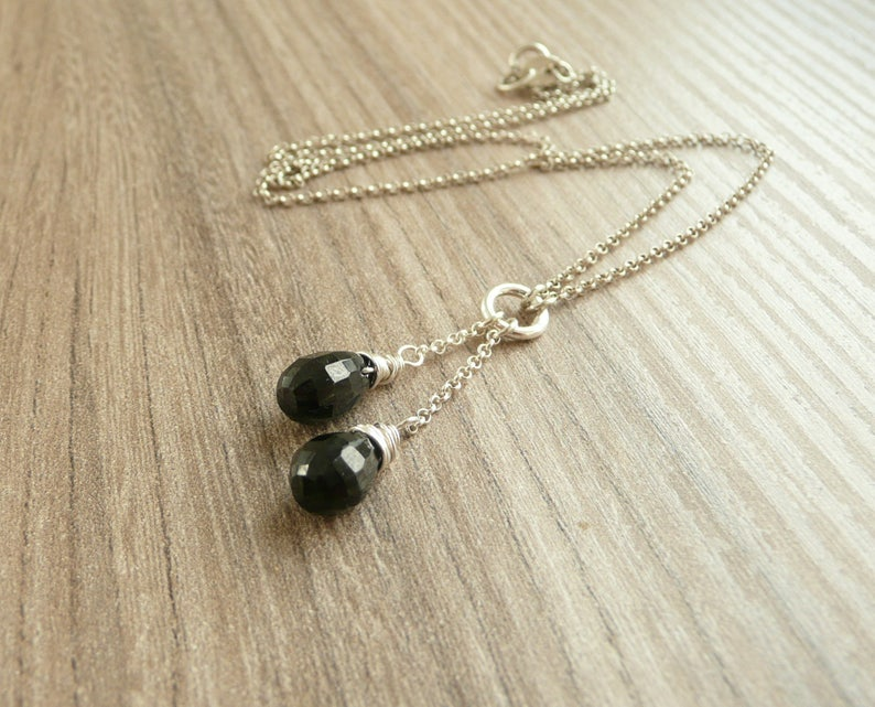 Y Lariat Necklace 925 Silver Spinel Necklace Minimalist Necklace Dainty Gemstone Necklace Black Spinel Necklace Silver