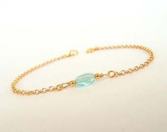 Tiny Apatite Bracelet, Sterling Silver Apatite Bracelet, Dainty Gemstone Bracelet, Minimalist Bracelet, 925 Sterling Silver Jewelry