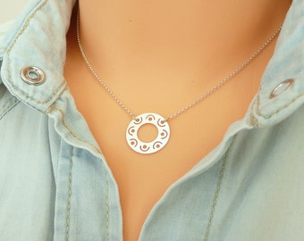 Sterling Silver Karma Necklace,  Good  Karma Necklace,  Silver Charm Necklace, Thin Chain Necklace, Minimalist Necklace