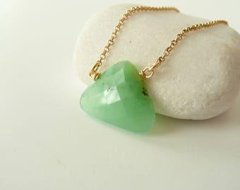 Raw Chrysoprase Necklace, 24K Gold Vermeil Chrysoprase Necklace, Chrysoprase Jewelry, Raw Stone Necklace, Healing Crystal Jewelry