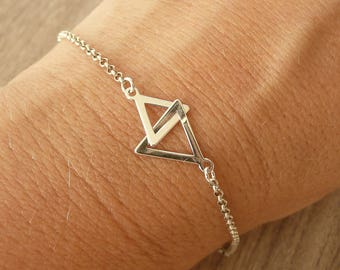 Sterling Silver Geometric Bracelet, Two Triangles Bracelet, Gold Geometric Bracelet, Minimalist Bracelet, 925 Sterling Silver Jewelry