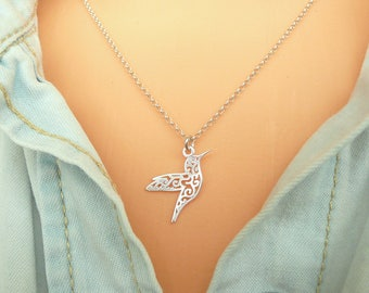 Sterling Silver Hummingbird Necklace,  Gold Hummingbird Necklace, Tiny Hummingbird Necklace, Thin Chain Necklace, Minimalist Necklace
