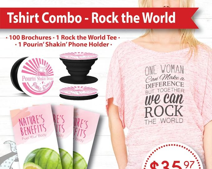 Tshirt Combo - Rock the World, Brochures, Phone Holder, Women's Tshirt, plexus, drink pink