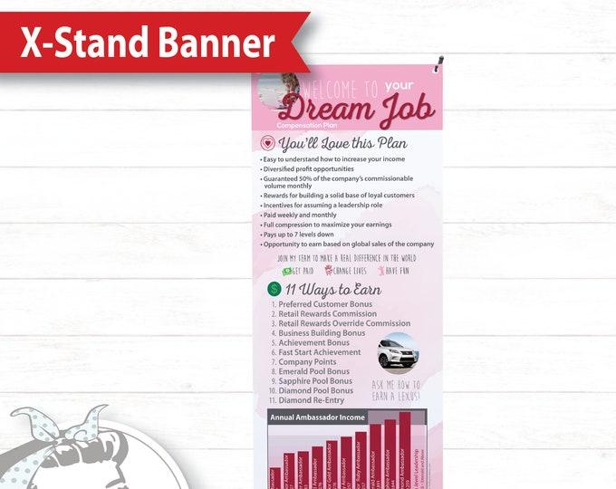 Banner with X-Stand - Dream Job Pink, plexus Banner, New slim, Pink Drink, Pink Drink Update, plexus Swag