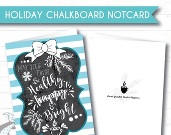 Holiday Chalkboard - Set of 10 - Holiday Note Cards