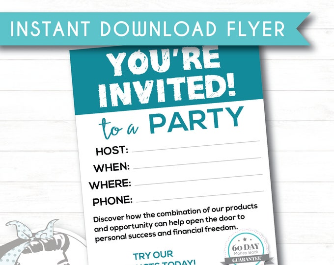 Blue Party Invite - Instant Download