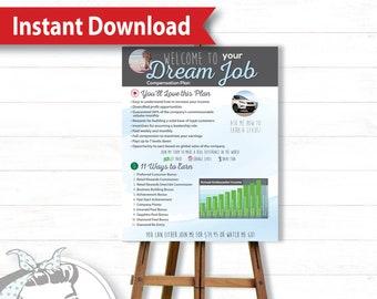 Poster - Dream Job Blue, Instant Download, plexus, plexus swag, plexus opportunity, compensation
