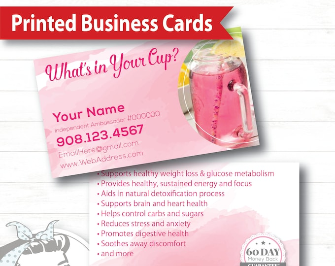 Business Card - Watercolor, plexus Business Card, New slim, Pink Drink, Pink Drink Update, plexus Swag