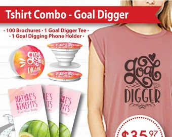 Tshirt Combo - Goal Digging, Brochures, Phone Holder, Women's Tshirt, plexus, drink pink