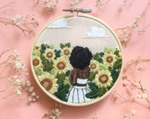 Sunflower Hand Embroidery Hoop Art