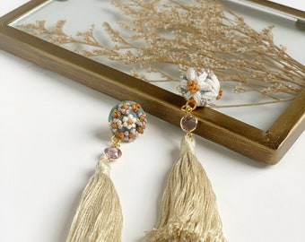 Hand Embroidered Button Dangle Earrings