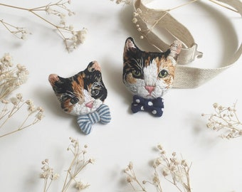 Custom Order Hand Embroidery Brooch/Pet Bow Tie