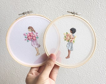 Hand Embroidered Girl and Flowers Hoop Art