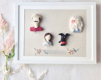 Custom Order, Family Portrait, Fabric Doll, Miniature, Frame Art, Hand Embroidery, Personalized, Family of Four (Include Frame)