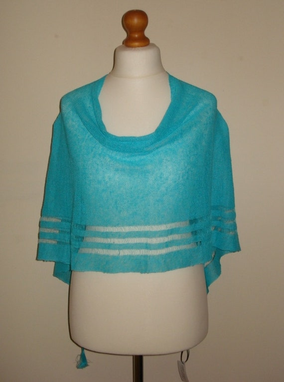 Evening Poncho shrug Shrug Turquoise Bridesmaid Poncho Shrug Linen cover Summer Summer up Beach Shrug Evening Lightweight Poncho HHS76Z