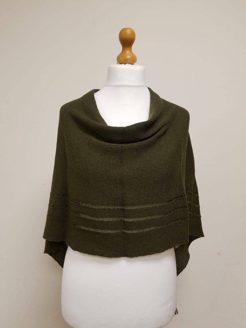 cowl neck poncho 100/% Merino shawl knitted cover up merino scarf wool one size pullover poncho Knitted Merino wool poncho