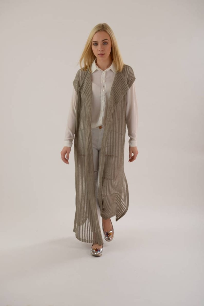 1746e6dd40901 Duster cardigan sleeveless cardigan linen robe kimono robe