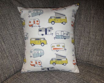 Camping  Pillow,Camping Trip Pillow, Glamping Pillow, Volkswagen Pop Up Camper, RV Pillow,Canned Ham Pillow, Vacation Pillow,Retro Pillow