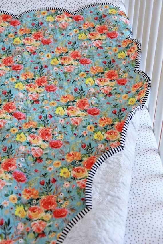Spring Toddler Bedding-Modern Toddler Quilt Floral Baby Quilt-Pop Garden-Heather Bailey Quilt Floral Toddler Bedding Girl Toddler Quilt