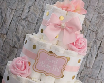 ON SALE! Pink and Gold baby shower/ Baby Girl/ Unique diaper cake/ Girl baby shower/ Its a girl/ Mommy to be/ Floral diaper cake/ Its a girl