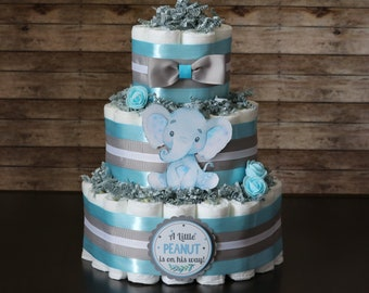Diaper Cake Baby Boy Shower Centerpiece Baby Shower Decoration Blue and Gray Diaper Cake Baby Shower Diaper Cake Diaper Centerpiece