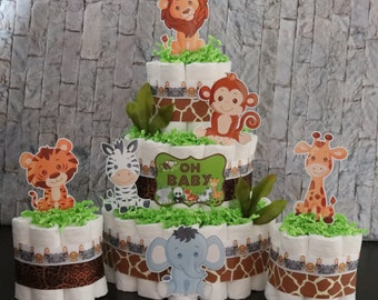 Jungle mini diaper cakes