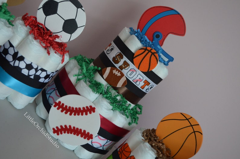 Sports Diaper Cake Boys Diaper Cake Baby Shower Center Pieces Baby Shower Decor Sports Theme Mommy To be Football Mom