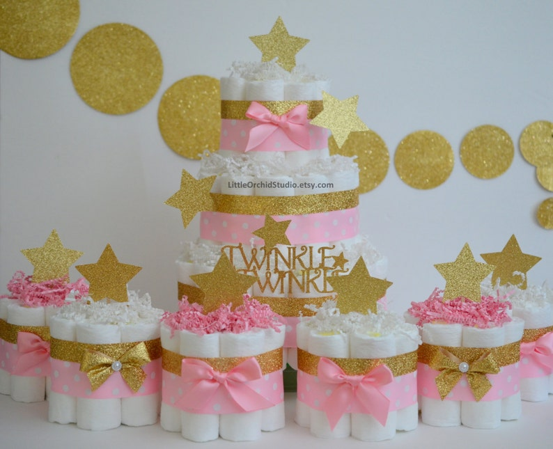 Twinkle Little Star Baby Shower Diaper Cake Pink