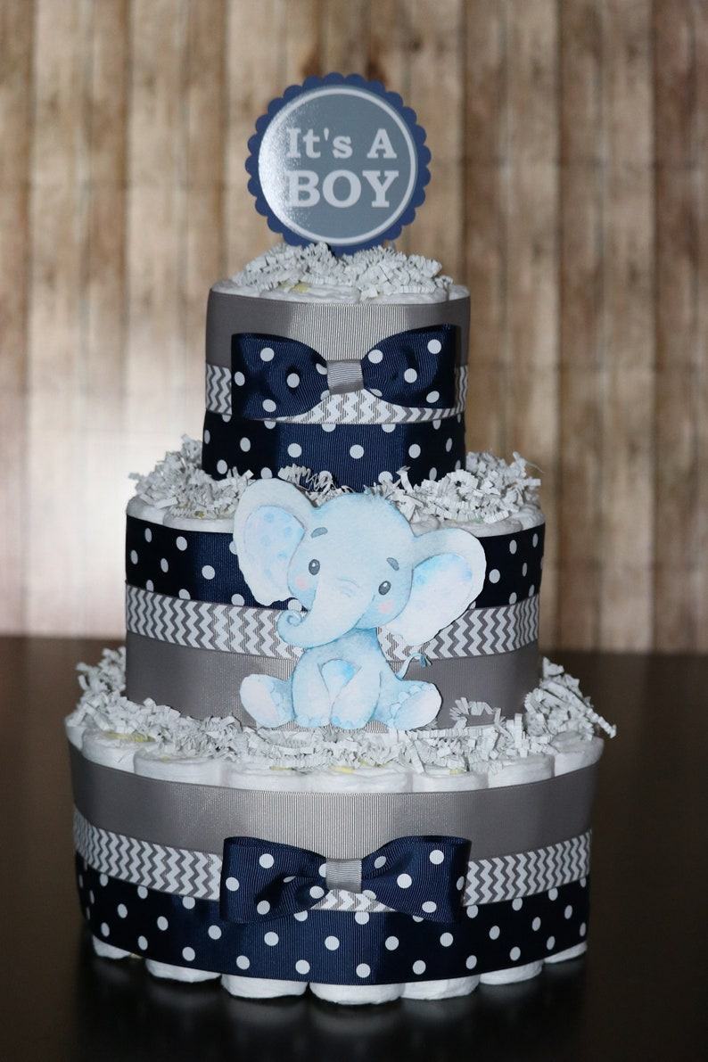 Elephant Diaper Cake Navy Blue Gray Elephant Baby Shower Its Etsy