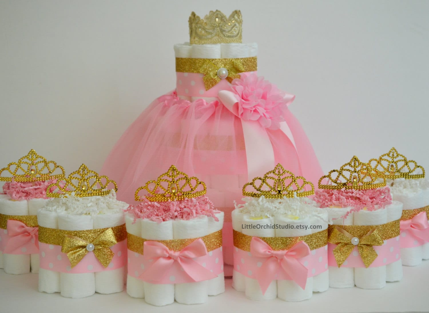 Pink And Gold Baby Shower Princess Diaper Cake Unique Diaper Etsy
