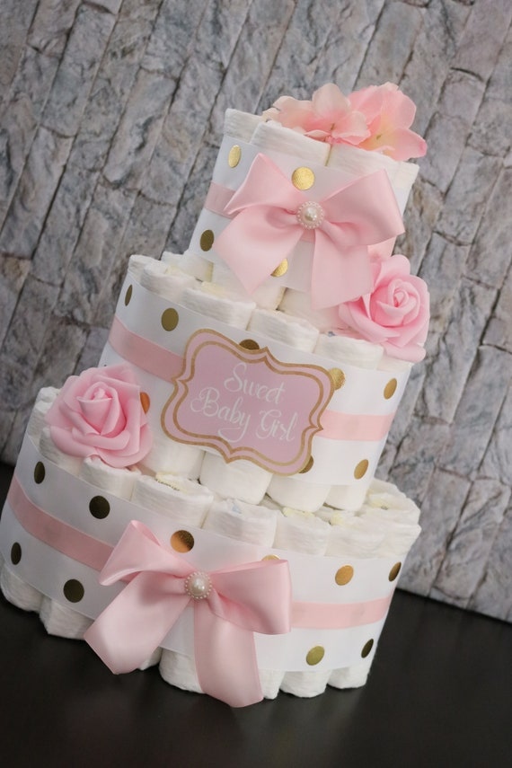 Baby Gift Diaper Cake It/'s a Girl Baby Shower