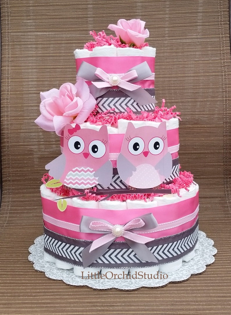 Pink Owl Diaper Cake Twin Baby Girls Its A Girl Girl Baby Etsy