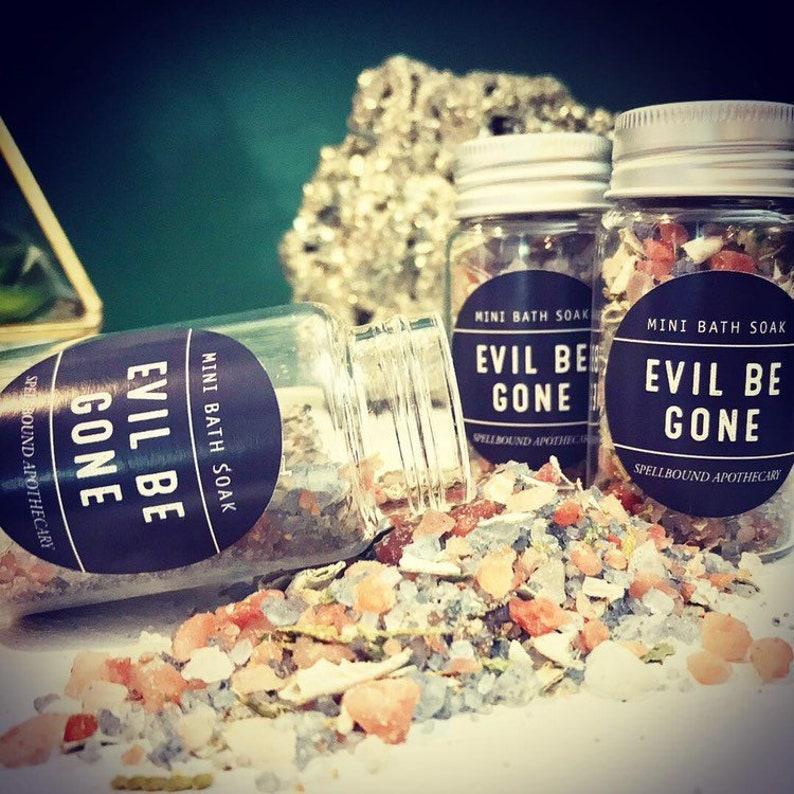 MINI Evil Be Gone Aura Cleansing Soak | Self Healing, Spiritual Cleanse,  White Sage, Black Tourmaline, Self Care Gift, Breakup Survival Gift