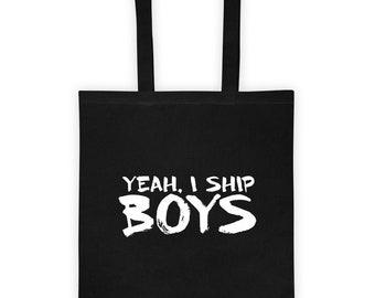 691626edaa Yeah, I Ship Boys Anime Cosplay Japanese Harajuku Yaoi BL Japan Lover Gift  Convention Tote Bag