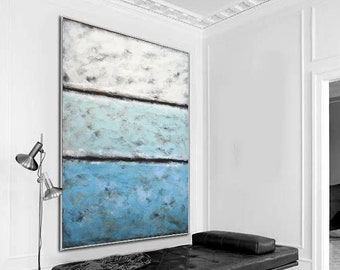 Abstract Landscape Painting Acrylic Modern Art Painting on canvas textured abstract blue white xl vertical artwork design wall art